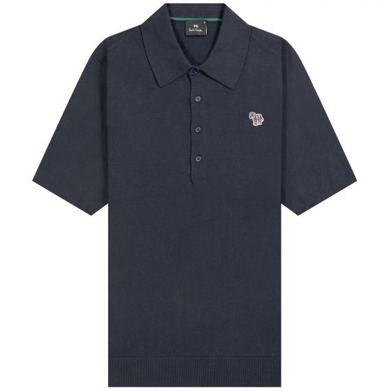 Paul Smith PS 'Knitted Zebra' Polo Shirt Navy