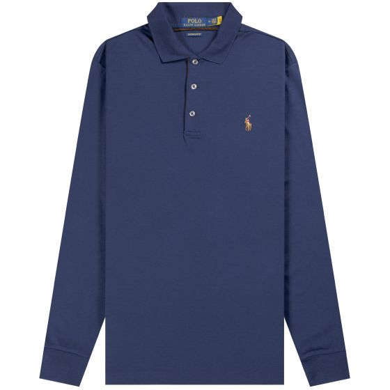 Ralph Lauren 'Long Sleeve' Slim Fit Soft Touch Polo Navy