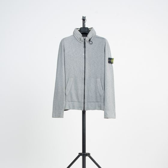 RE-POCKETS STONE ISLAND Full Zip Knit With Concealed Hood Grey