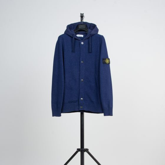 RE-POCKETS STONE ISLAND Hooded Knitted Cardigan Blue