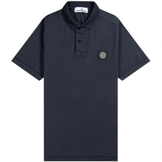 Stone Island Patch Logo Short Sleeved Polo Shirt Navy