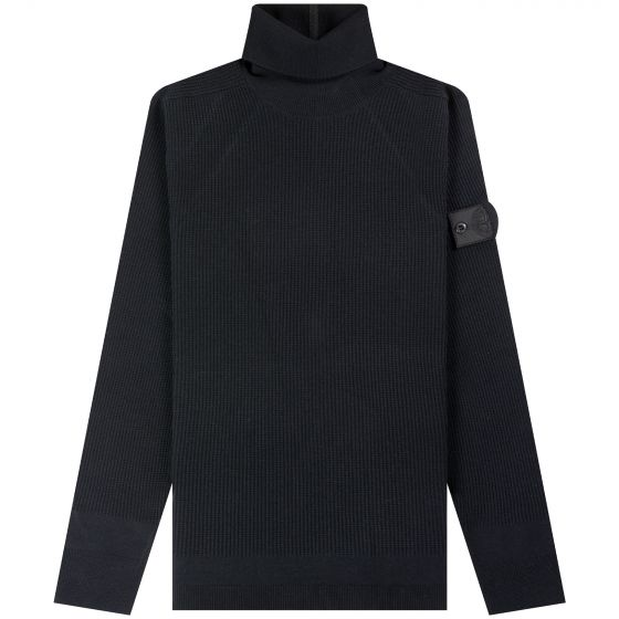 Stone Island Shadow Project  'Stretched Waffle' Roll Neck Black