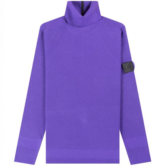 Stone Island Shadow Project  'Stretched Waffle' Roll Neck Purple