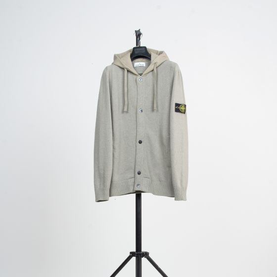 RE-POCKETS STONE ISLAND 'Button Up' Hooded Knit Stone