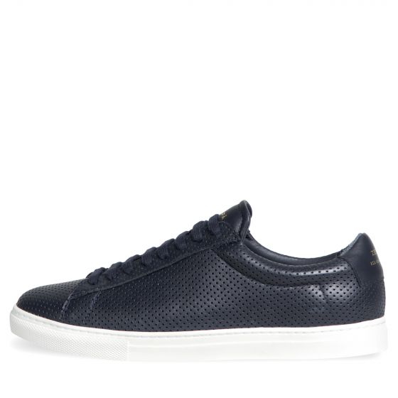 ZESPA 'ZSP4' Nappa Perforated Leather Trainer Navy
